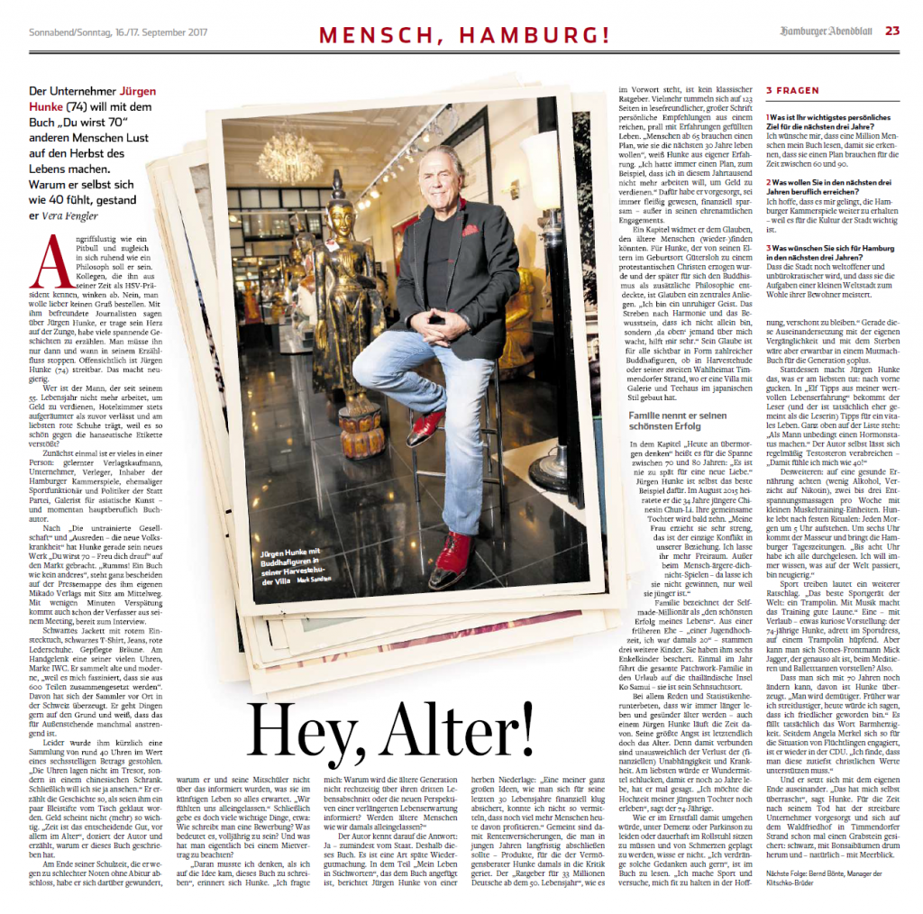 "Hamburger Abendblatt _ Jürgen Hunke, ""Du wirst 70 – Freu Dich drauf"""